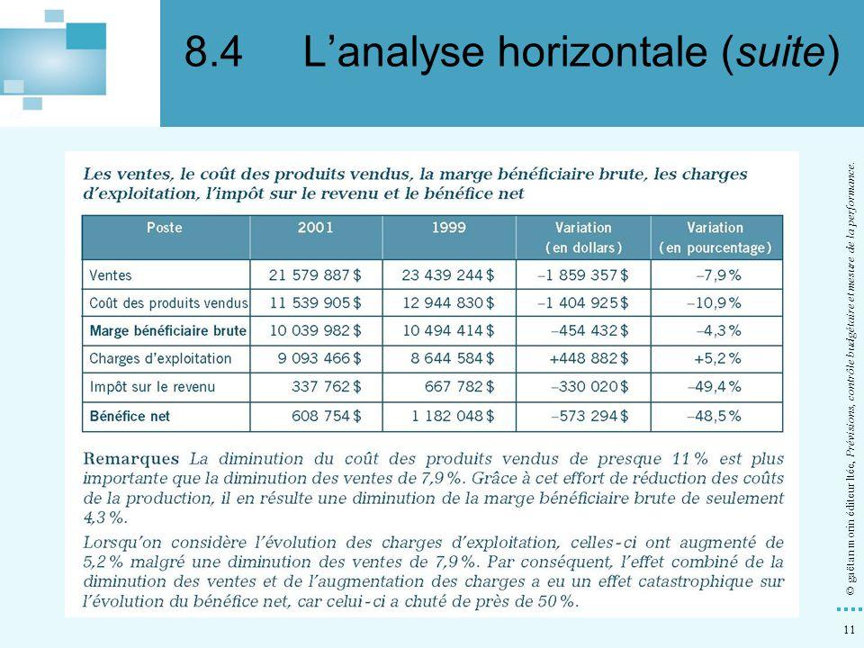 11 © gaëtan morin éditeur ltée, Prévisions, contrôle budgétaire et mesure de la performance. 8.4Lanalyse horizontale (suite)