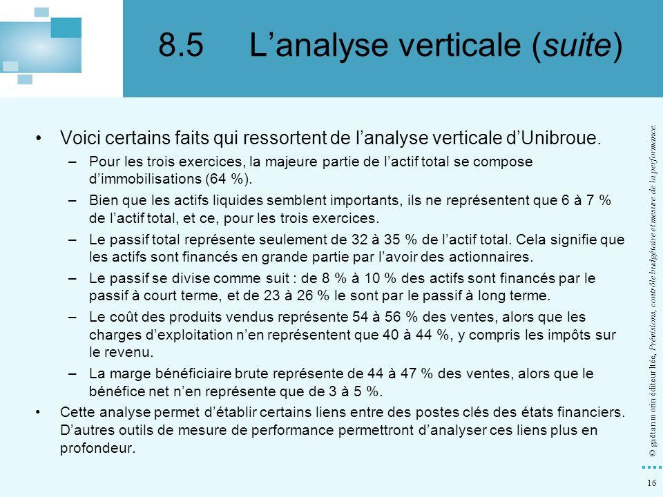 16 © gaëtan morin éditeur ltée, Prévisions, contrôle budgétaire et mesure de la performance. Voici certains faits qui ressortent de lanalyse verticale