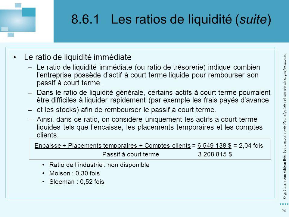 20 © gaëtan morin éditeur ltée, Prévisions, contrôle budgétaire et mesure de la performance. Le ratio de liquidité immédiate –Le ratio de liquidité im