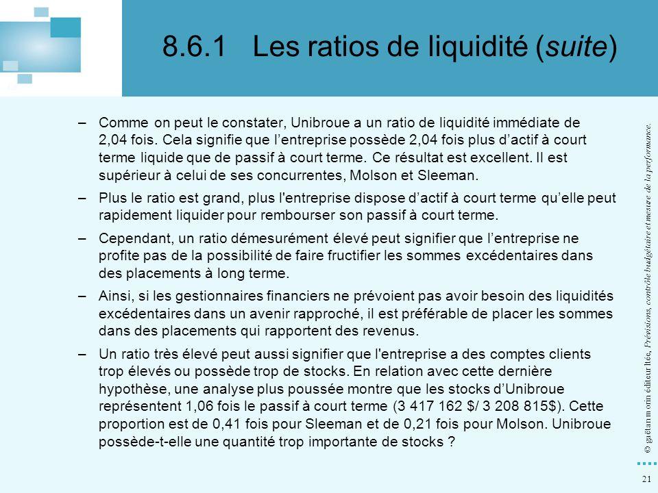 21 © gaëtan morin éditeur ltée, Prévisions, contrôle budgétaire et mesure de la performance. –Comme on peut le constater, Unibroue a un ratio de liqui