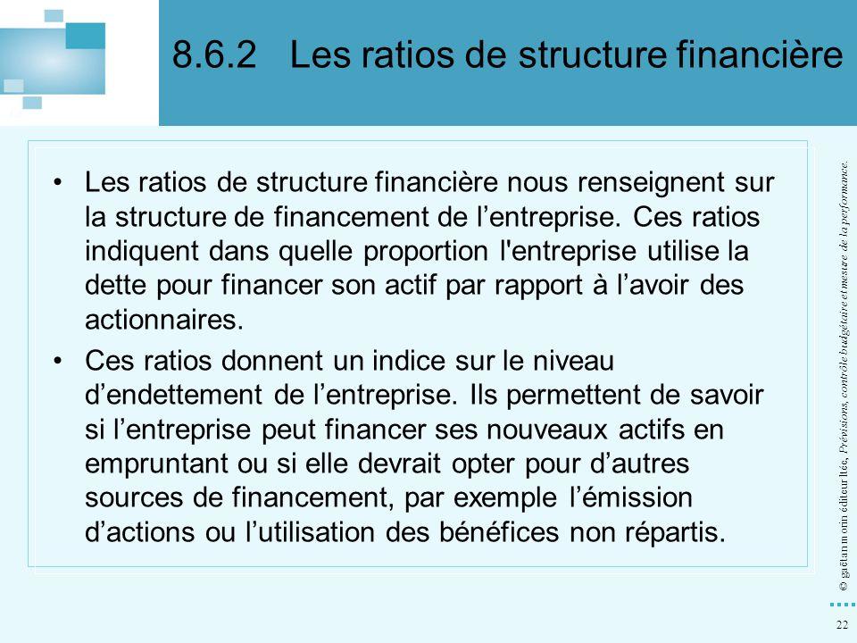 22 © gaëtan morin éditeur ltée, Prévisions, contrôle budgétaire et mesure de la performance. Les ratios de structure financière nous renseignent sur l