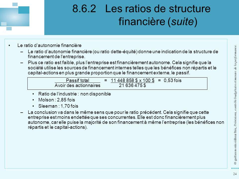 24 © gaëtan morin éditeur ltée, Prévisions, contrôle budgétaire et mesure de la performance. Le ratio dautonomie financière –Le ratio dautonomie finan
