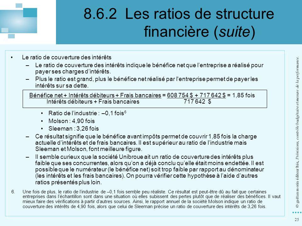 25 © gaëtan morin éditeur ltée, Prévisions, contrôle budgétaire et mesure de la performance. Le ratio de couverture des intérêts –Le ratio de couvertu