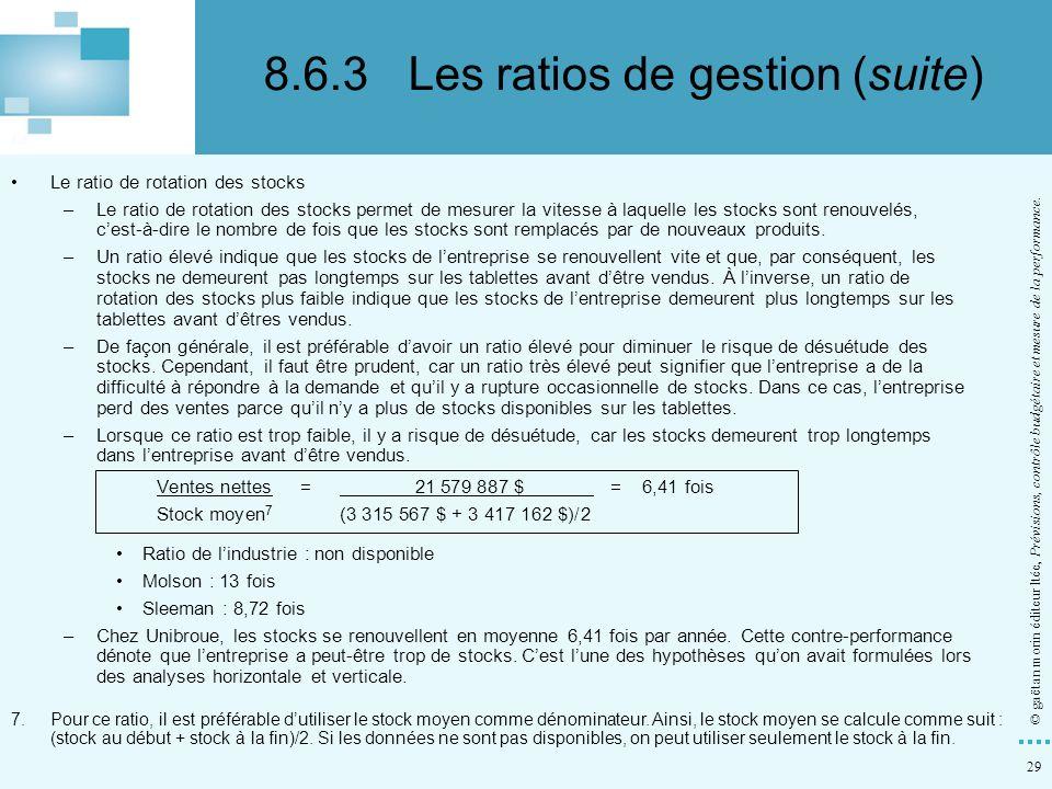 29 © gaëtan morin éditeur ltée, Prévisions, contrôle budgétaire et mesure de la performance. Le ratio de rotation des stocks –Le ratio de rotation des