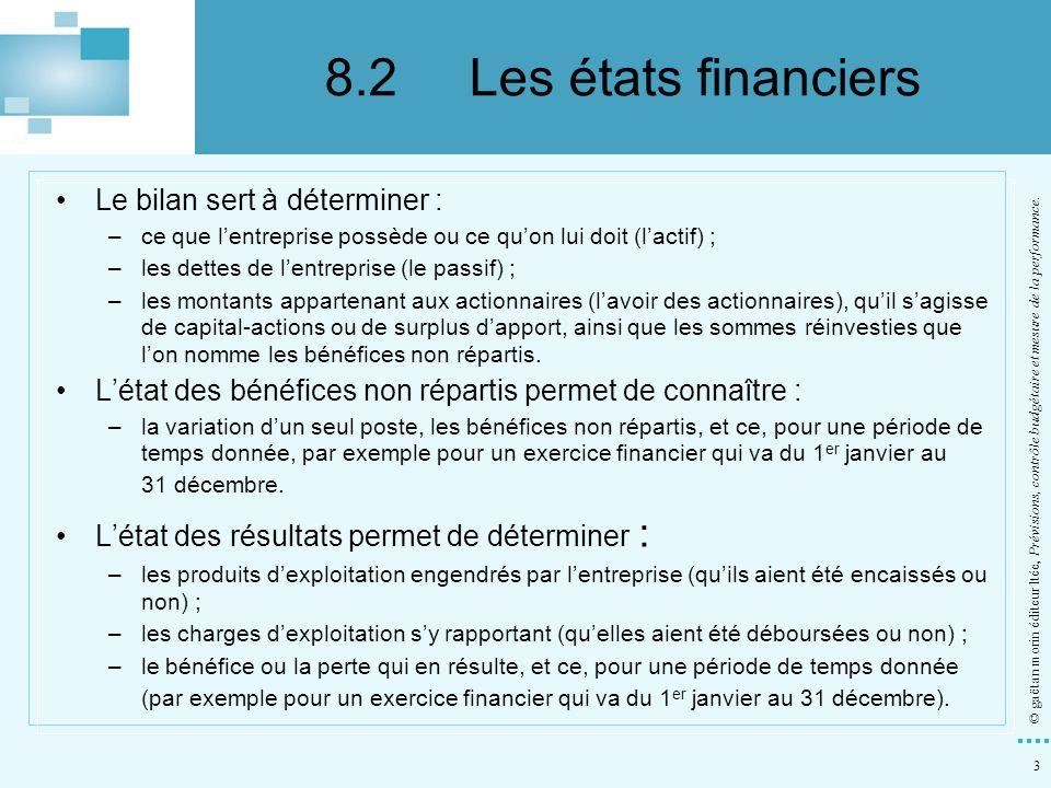 3 © gaëtan morin éditeur ltée, Prévisions, contrôle budgétaire et mesure de la performance. Le bilan sert à déterminer : –ce que lentreprise possède o