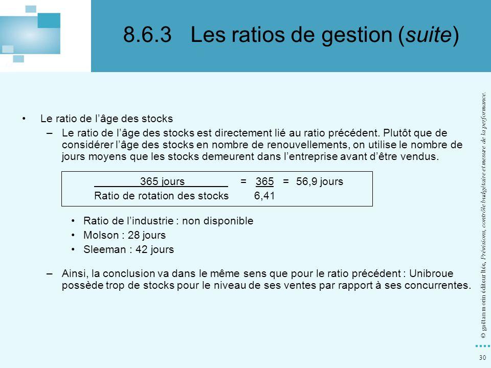 30 © gaëtan morin éditeur ltée, Prévisions, contrôle budgétaire et mesure de la performance. Le ratio de lâge des stocks –Le ratio de lâge des stocks