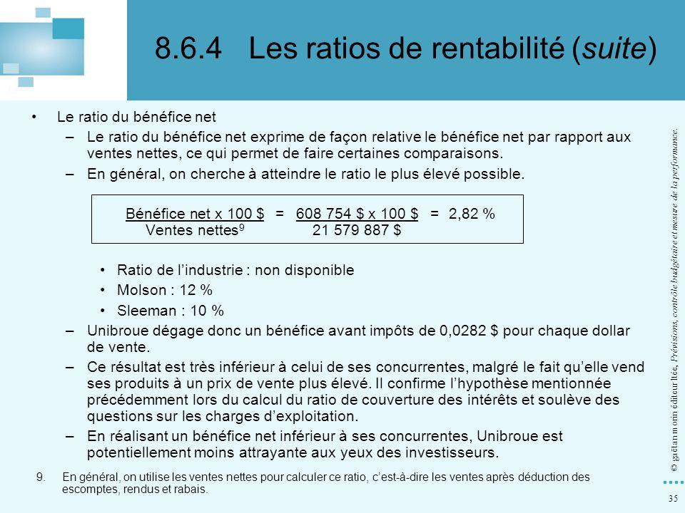 35 © gaëtan morin éditeur ltée, Prévisions, contrôle budgétaire et mesure de la performance. Le ratio du bénéfice net –Le ratio du bénéfice net exprim