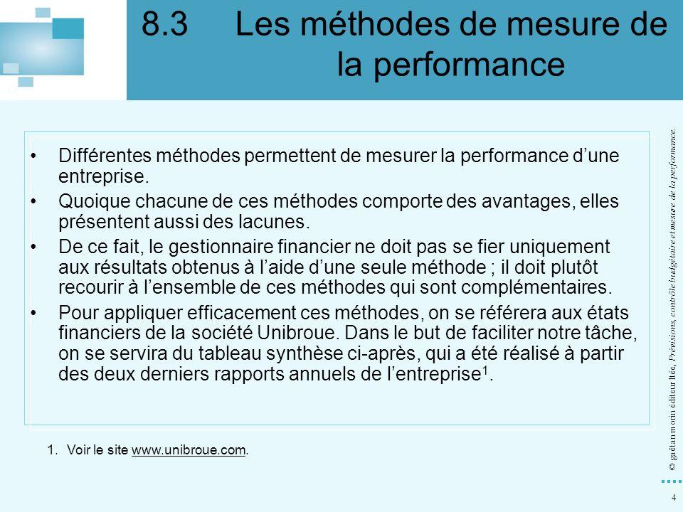 4 © gaëtan morin éditeur ltée, Prévisions, contrôle budgétaire et mesure de la performance. Différentes méthodes permettent de mesurer la performance