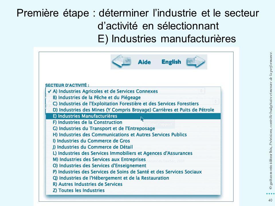 40 © gaëtan morin éditeur ltée, Prévisions, contrôle budgétaire et mesure de la performance. Première étape : déterminer lindustrie et le secteur dact