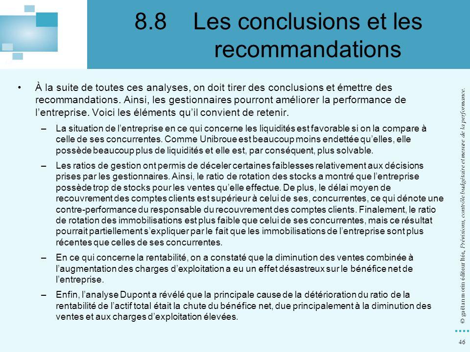 46 © gaëtan morin éditeur ltée, Prévisions, contrôle budgétaire et mesure de la performance. À la suite de toutes ces analyses, on doit tirer des conc