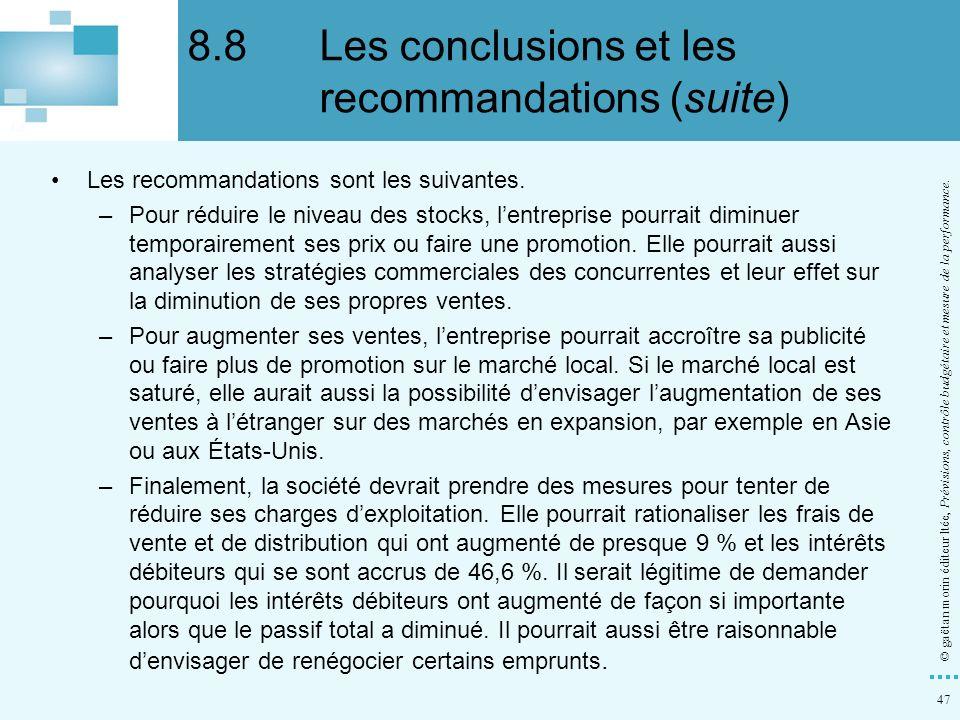 47 © gaëtan morin éditeur ltée, Prévisions, contrôle budgétaire et mesure de la performance. Les recommandations sont les suivantes. –Pour réduire le