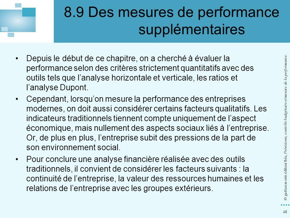 48 © gaëtan morin éditeur ltée, Prévisions, contrôle budgétaire et mesure de la performance. Depuis le début de ce chapitre, on a cherché à évaluer la