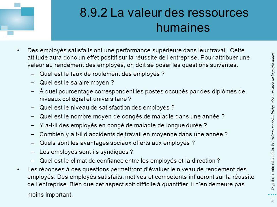 50 © gaëtan morin éditeur ltée, Prévisions, contrôle budgétaire et mesure de la performance. Des employés satisfaits ont une performance supérieure da