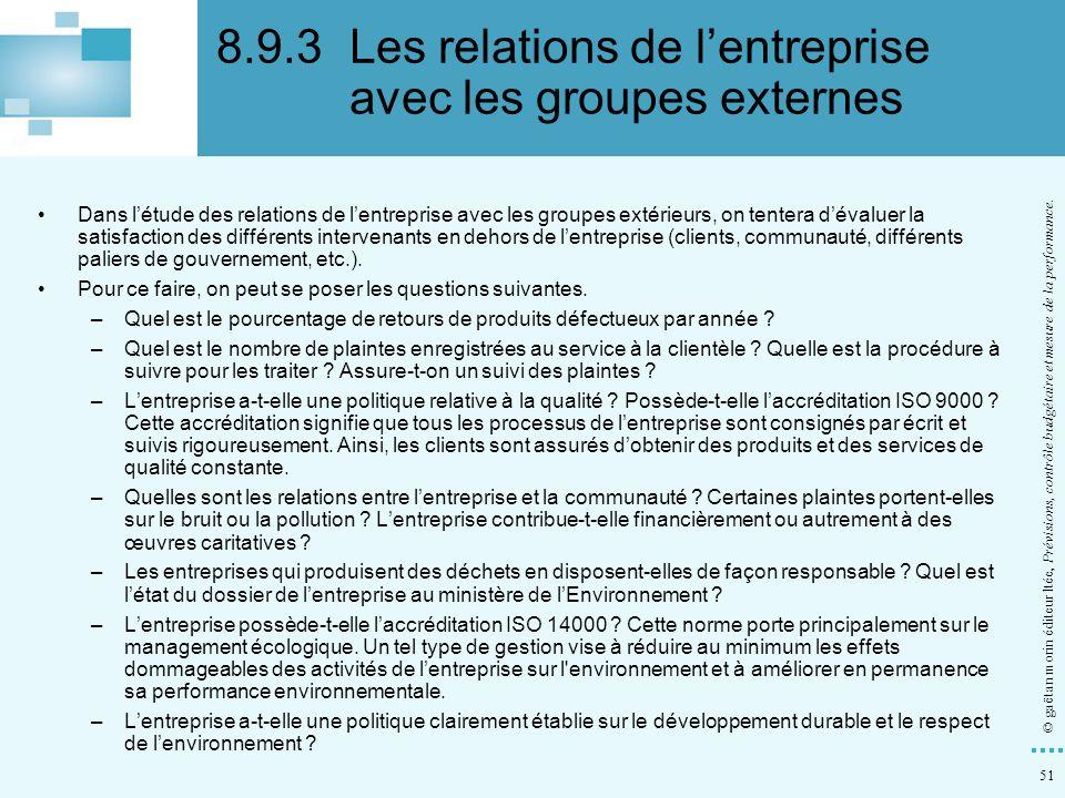 51 © gaëtan morin éditeur ltée, Prévisions, contrôle budgétaire et mesure de la performance. Dans létude des relations de lentreprise avec les groupes