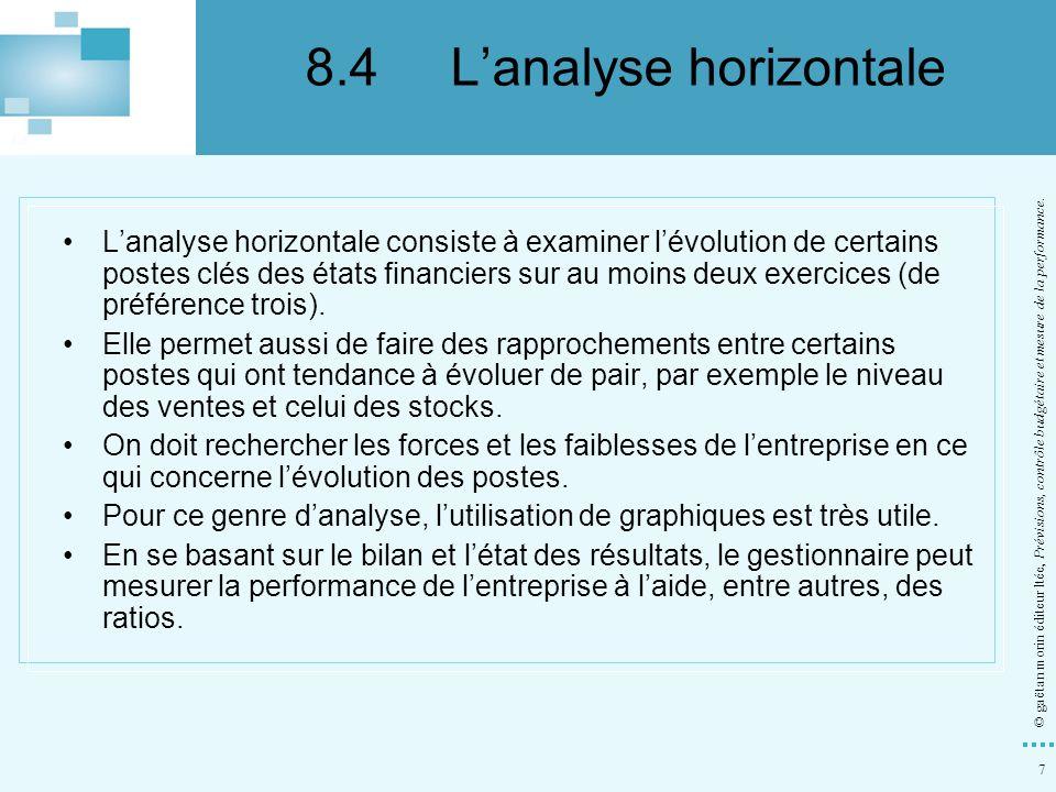 8 © gaëtan morin éditeur ltée, Prévisions, contrôle budgétaire et mesure de la performance.