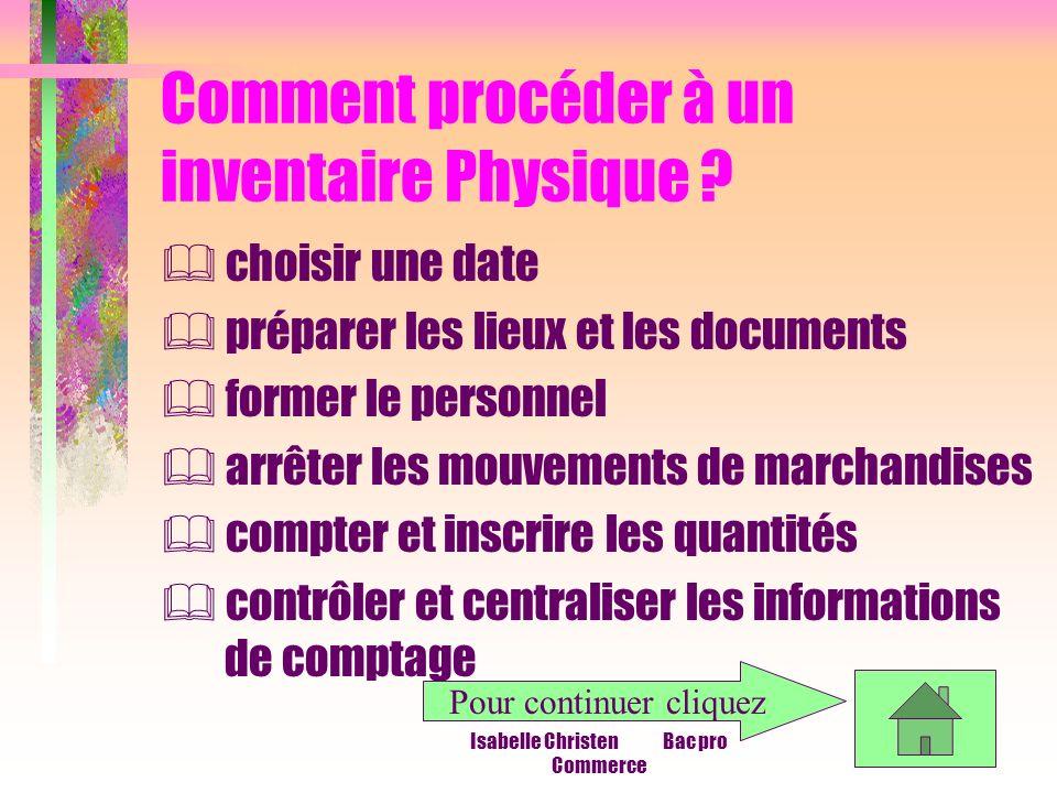 Isabelle Christen Bac pro Commerce Comment procéder à un inventaire Physique ? choisir une date préparer les lieux et les documents former le personne
