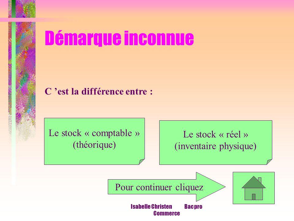 Isabelle Christen Bac pro Commerce Démarque inconnue C est la différence entre : Le stock « comptable » (théorique) Le stock « réel » (inventaire phys
