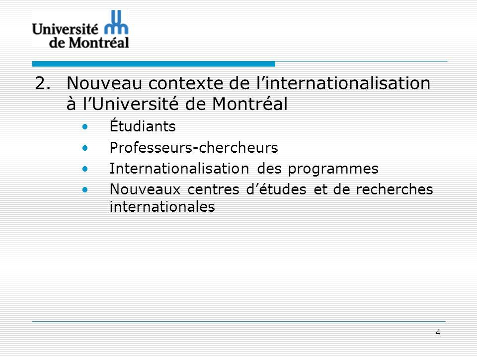 4 2.Nouveau contexte de linternationalisation à lUniversité de Montréal Étudiants Professeurs-chercheurs Internationalisation des programmes Nouveaux centres détudes et de recherches internationales