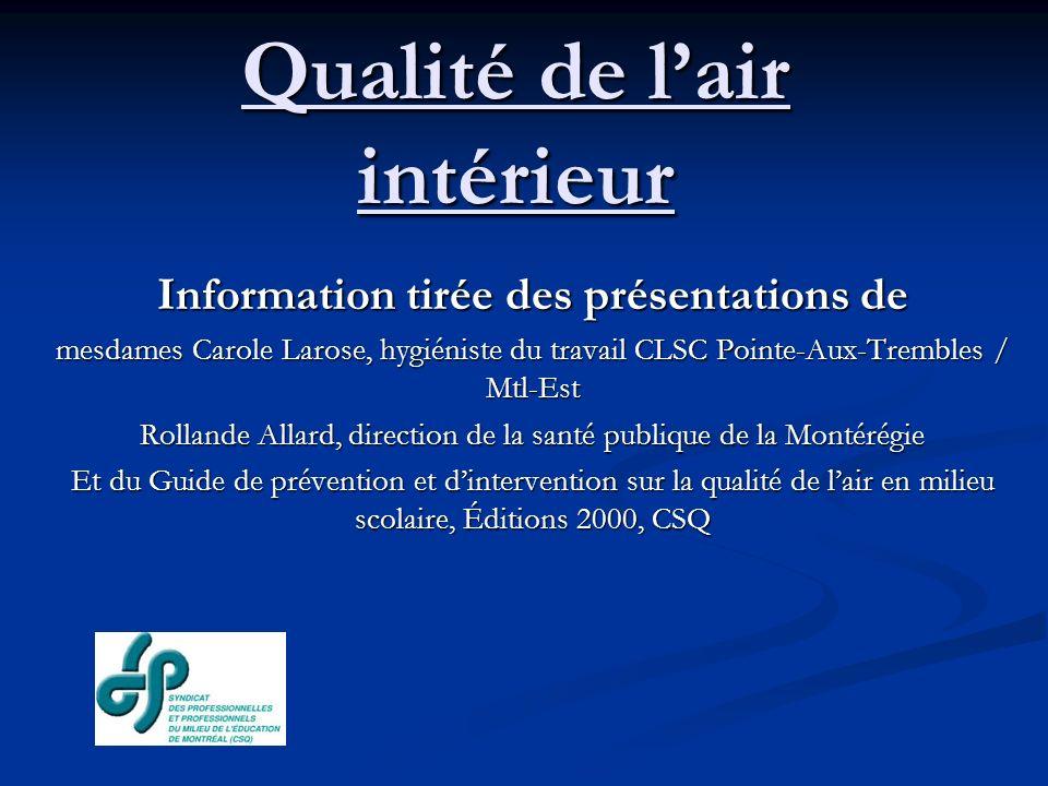 Qualité de lair intérieur Référence à des ressources expertes (suite) La Commission de la santé et de la sécurité du travail (CSST) : certains inspecteurs de la CSST ont reçu une formation spécifique sur la QAI permettant de supporter les initiatives prises dans le milieu.