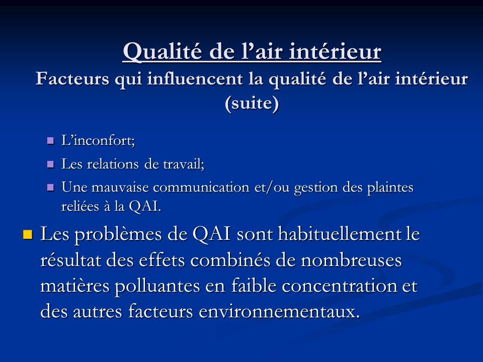 Qualité de lair intérieur Facteurs qui influencent la qualité de lair intérieur (suite) De plus, certains facteurs environnementaux influencent les perceptions de la QAI et peuvent altérer la réponse physiologique.