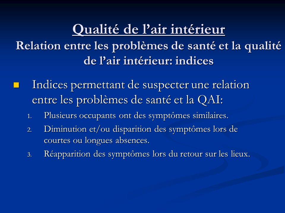 Qualité de lair intérieur Les effets sur la santé dune mauvaise qualité de lair intérieur (suite) troubles digestifs (nausées, vomissements et diarrhé