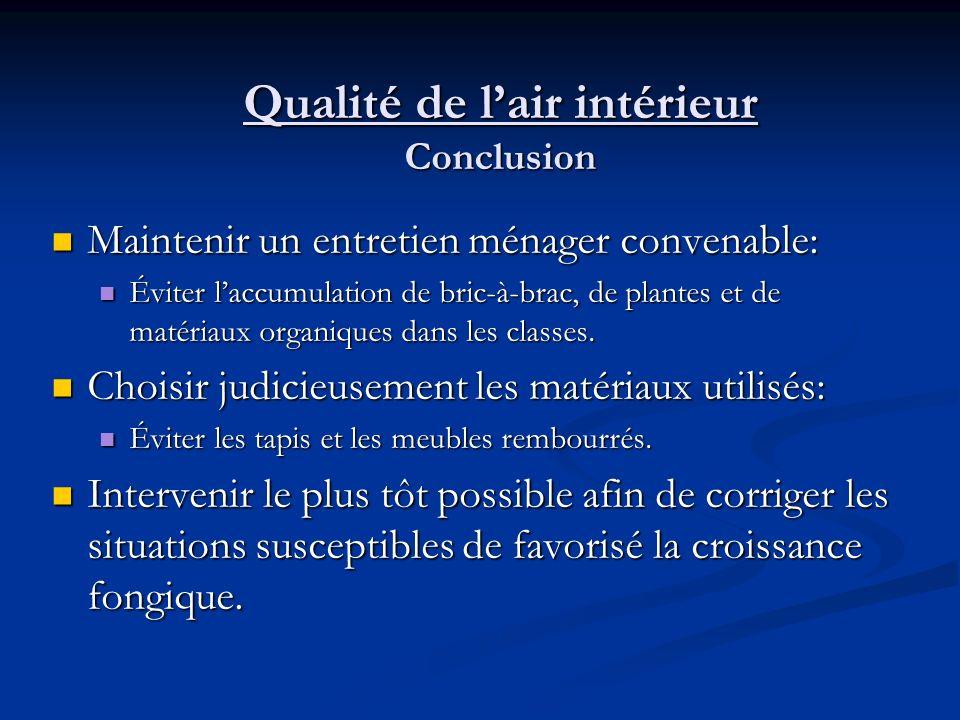 Qualité de lair intérieur Conclusion Réagir rapidement et sérieusement à toutes les plaintes concernants les QAI Réagir rapidement et sérieusement à t