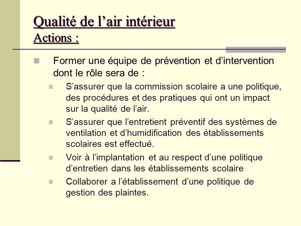 Qualité de lair intérieur Actions : Constituer un comité paritaire en santé et sécurité et santé sécurité. (ce comité est constitué dun nombre égal de