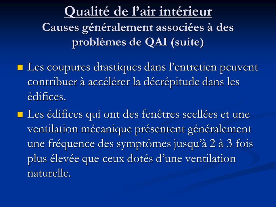 Qualité de lair intérieur Causes généralement associées à des problèmes de QAI (suite) Les coupures drastiques dans lentretien peuvent contribuer à accélérer la décrépitude dans les édifices.