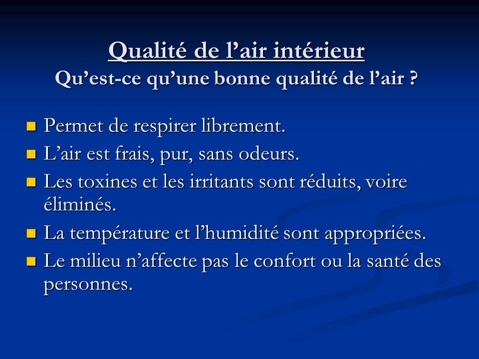 Qualité de lair intérieur Définition LASHRAE définit la notion de la qualité de lair intérieur acceptable comme étant de lair contenant des contaminan