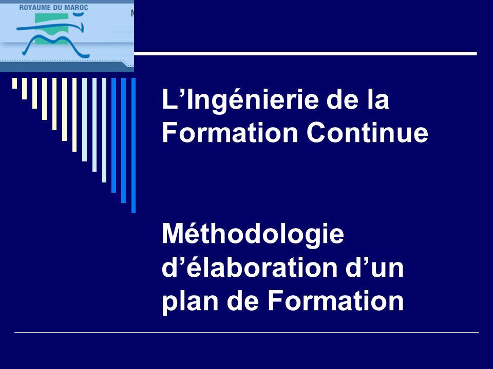 LIngénierie de la Formation Continue Méthodologie délaboration dun plan de Formation