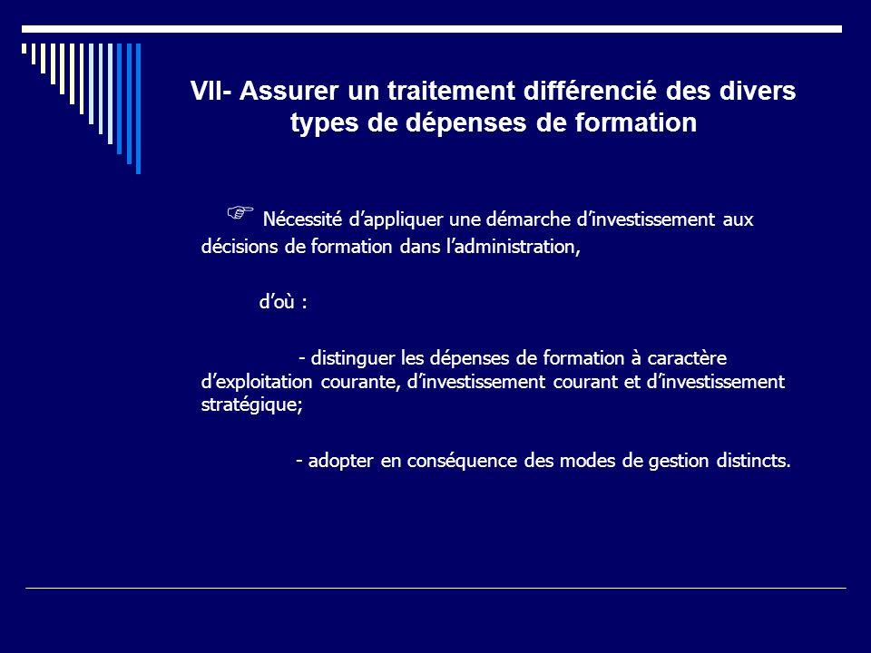 VII- Assurer un traitement différencié des divers types de dépenses de formation Nécessité dappliquer une démarche dinvestissement aux décisions de fo