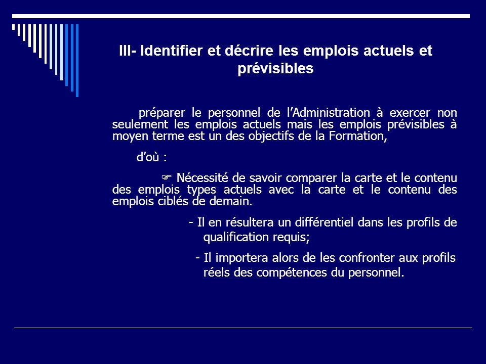 III- Identifier et décrire les emplois actuels et prévisibles préparer le personnel de lAdministration à exercer non seulement les emplois actuels mai