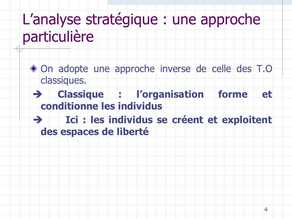 Concepts clés de lanalyse stratégique Enjeu Stratégie acteur Zone dincertitude Pouvoir Système daction concret 5