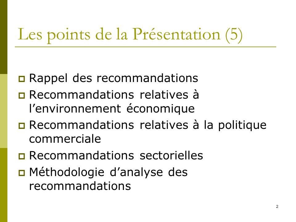 2 Les points de la Présentation (5) Rappel des recommandations Recommandations relatives à lenvironnement économique Recommandations relatives à la politique commerciale Recommandations sectorielles Méthodologie danalyse des recommandations