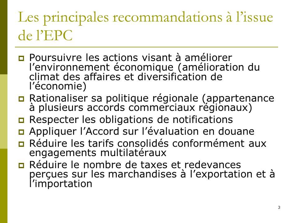 4 Les principales recommandations à lissue de lEPC Ces recommandations sont pluri- sectorielles Le Ministère du Commerce & PME nest quun point focal Doù limportance de la coordination des actions de mise en œuvre des recommandations