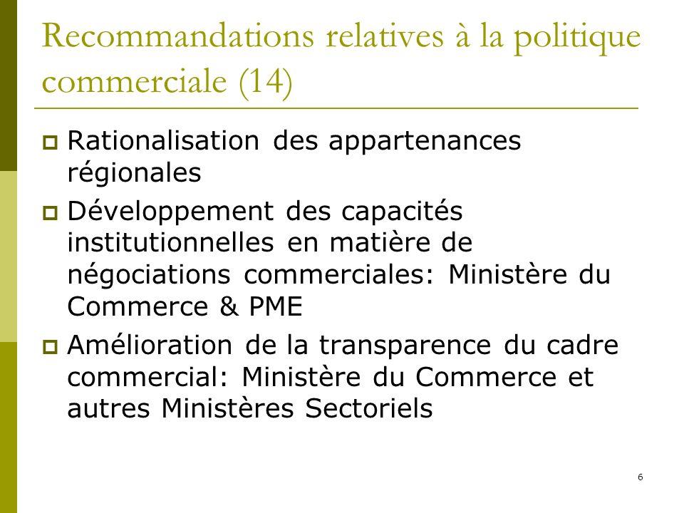 6 Recommandations relatives à la politique commerciale (14) Rationalisation des appartenances régionales Développement des capacités institutionnelles en matière de négociations commerciales: Ministère du Commerce & PME Amélioration de la transparence du cadre commercial: Ministère du Commerce et autres Ministères Sectoriels