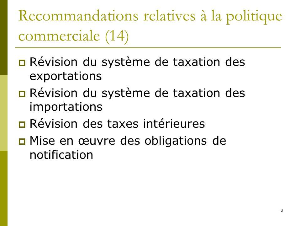 8 Recommandations relatives à la politique commerciale (14) Révision du système de taxation des exportations Révision du système de taxation des importations Révision des taxes intérieures Mise en œuvre des obligations de notification