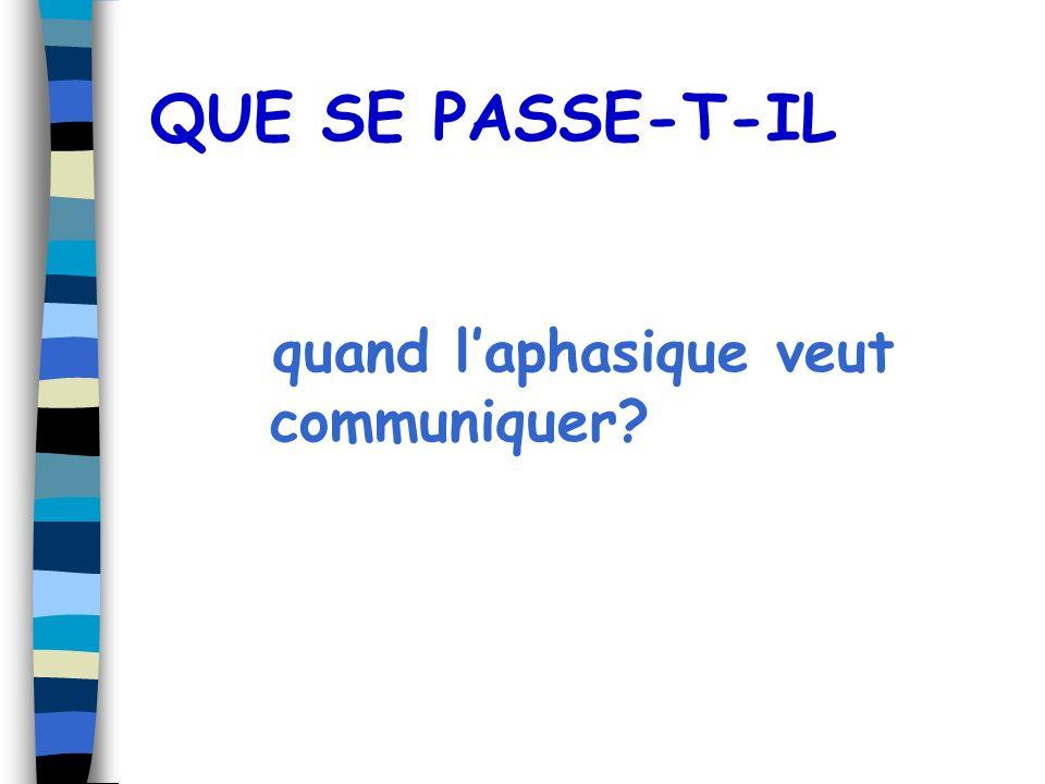 QUE SE PASSE-T-IL quand laphasique veut communiquer?