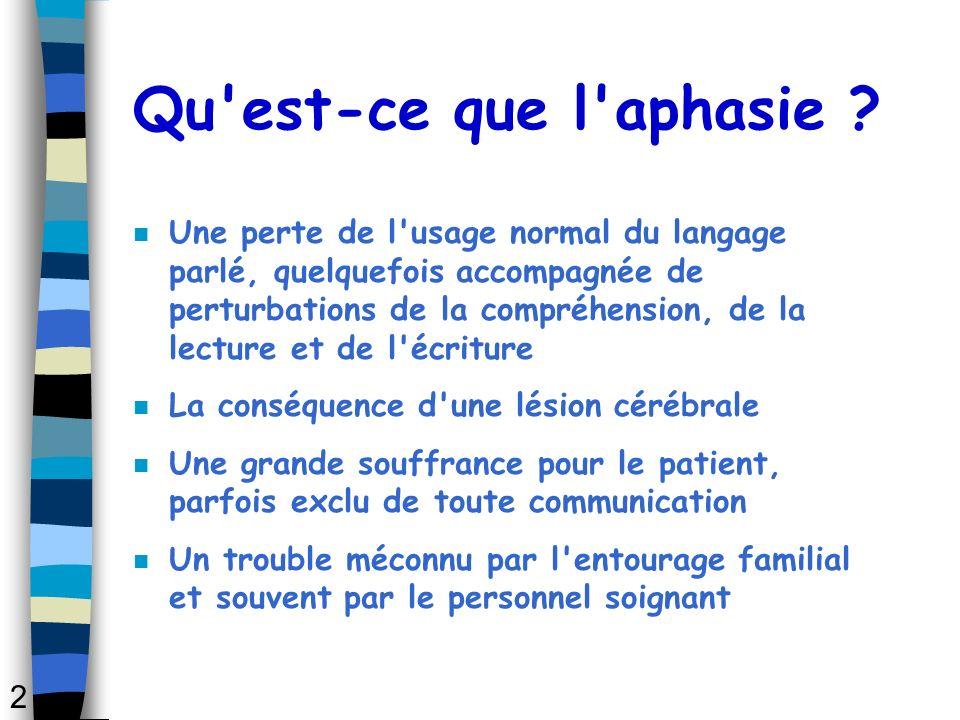 Qu'est-ce que l'aphasie ? n Une perte de l'usage normal du langage parlé, quelquefois accompagnée de perturbations de la compréhension, de la lecture