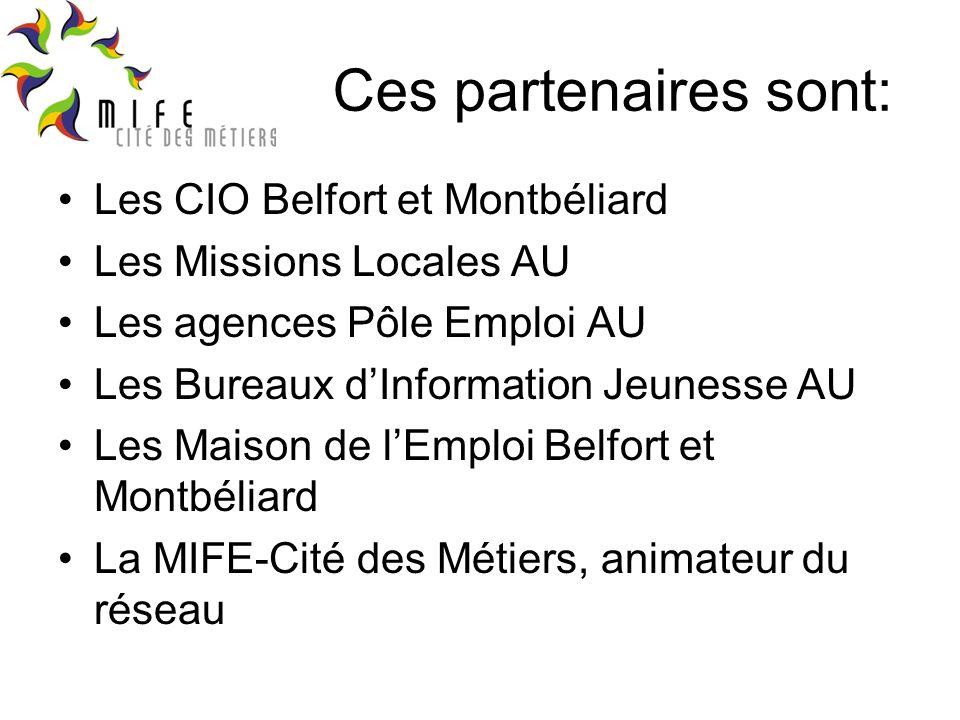 Ces partenaires sont: Les CIO Belfort et Montbéliard Les Missions Locales AU Les agences Pôle Emploi AU Les Bureaux dInformation Jeunesse AU Les Maison de lEmploi Belfort et Montbéliard La MIFE-Cité des Métiers, animateur du réseau