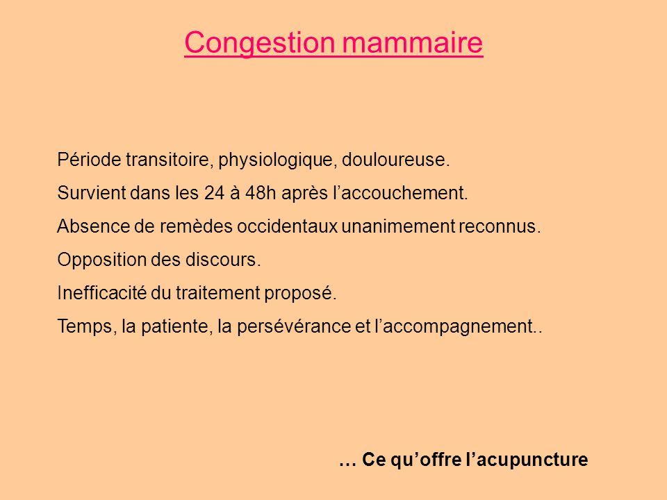 Congestion mammaire Période transitoire, physiologique, douloureuse. Survient dans les 24 à 48h après laccouchement. Absence de remèdes occidentaux un