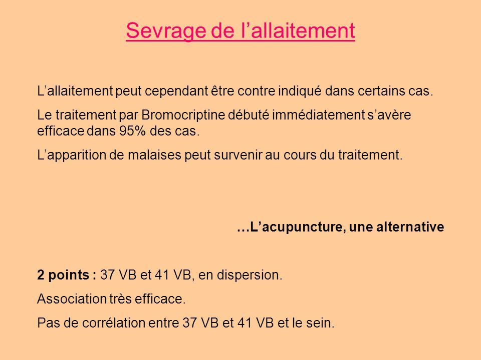 Sevrage de lallaitement Lallaitement peut cependant être contre indiqué dans certains cas. Le traitement par Bromocriptine débuté immédiatement savère