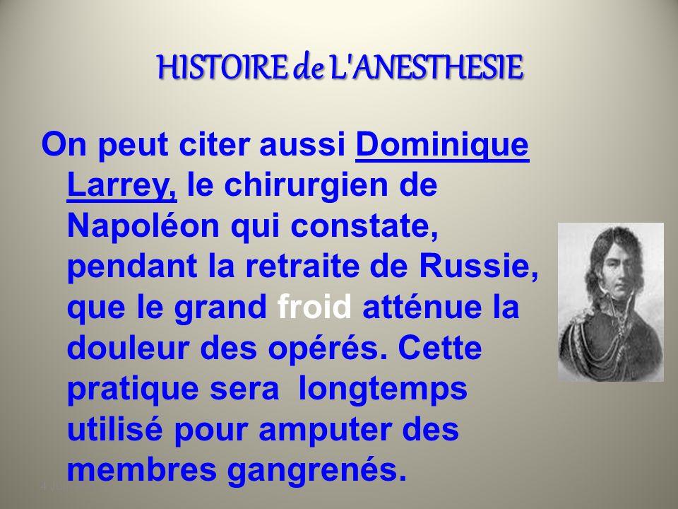 4 Juin 2010 HISTOIRE de L'ANESTHESIE Au XVI e siècle, par exemple, le grand chirurgien Ambroise PARE préconise labsorption dun cocktail dopium et dalc
