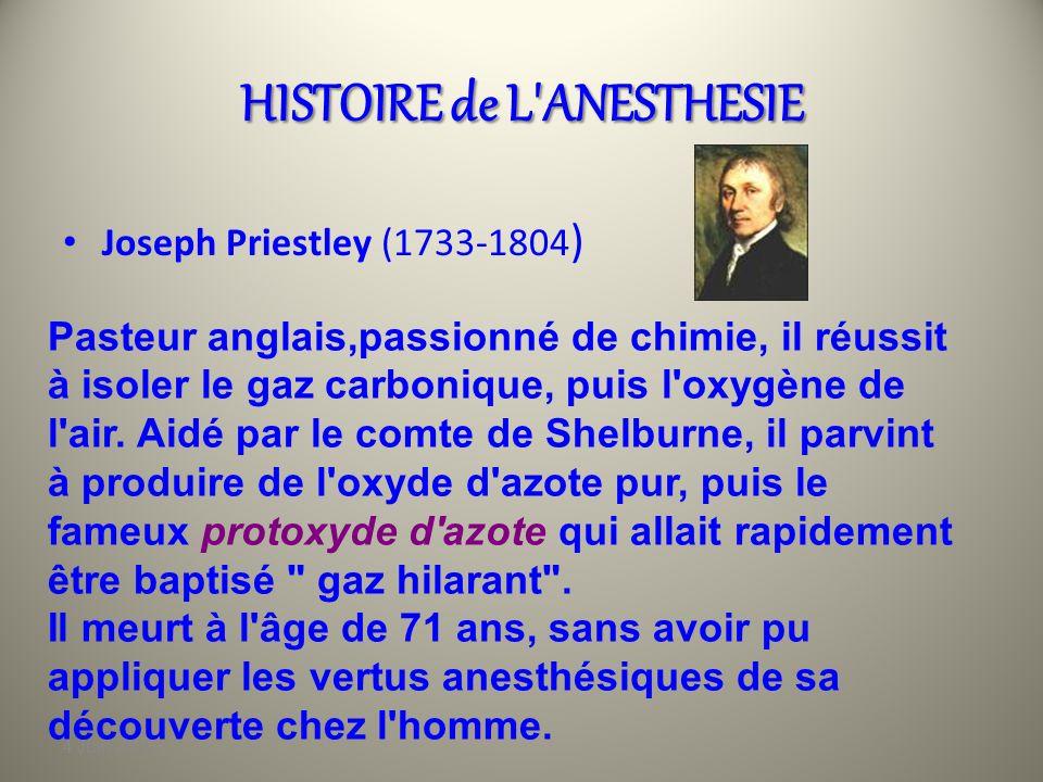4 Juin 2010 HISTOIRE de L'ANESTHESIE Découverte des produits anesthésiques…