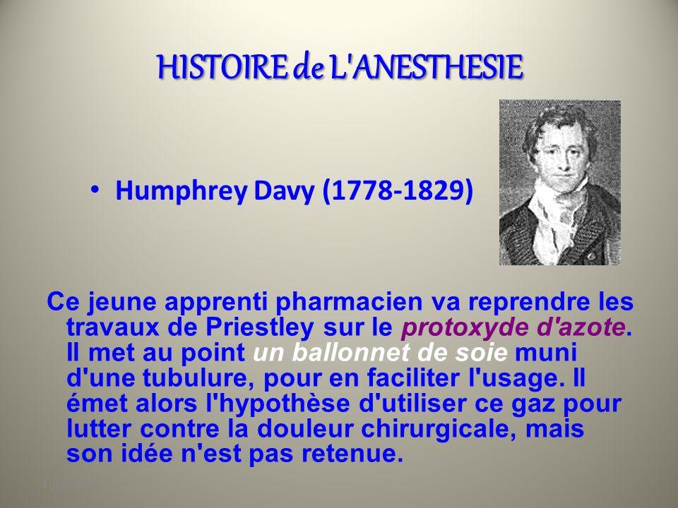 4 Juin 2010 HISTOIRE de L'ANESTHESIE Joseph Priestley (1733-1804 ) Pasteur anglais,passionné de chimie, il réussit à isoler le gaz carbonique, puis l'