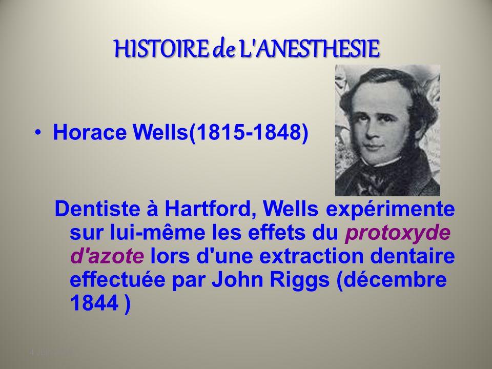 4 Juin 2010 HISTOIRE de L'ANESTHESIE Humphrey Davy (1778-1829) Ce jeune apprenti pharmacien va reprendre les travaux de Priestley sur le protoxyde d'a