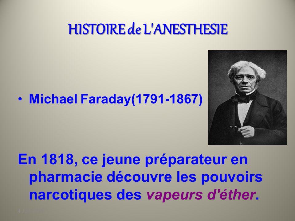 4 Juin 2010 HISTOIRE de L'ANESTHESIE Horace Wells(1815-1848) Dentiste à Hartford, Wells expérimente sur lui-même les effets du protoxyde d'azote lors
