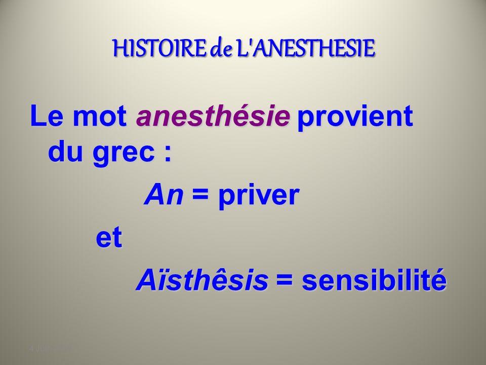 4 Juin 2010 HISTOIRE de L ANESTHESIE Le mot anesthésie provient du grec : An = priver An = priver et et Aïsthêsis = sensibilité Aïsthêsis = sensibilité