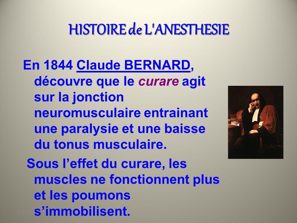 4 Juin 2010 HISTOIRE de L'ANESTHESIE Dautres découvertes…