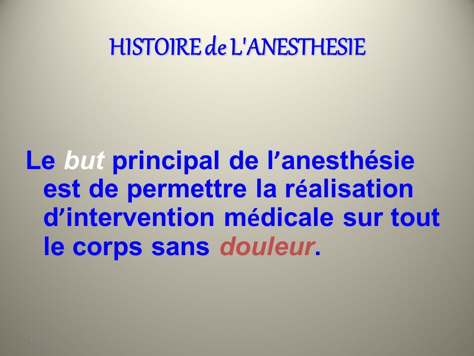 4 Juin 2010 HISTOIRE de L'ANESTHESIE Lanesthésie est labolition de toutes les sensibilités périphériques, tactiles, kinesthésiques, douloureuses, ther